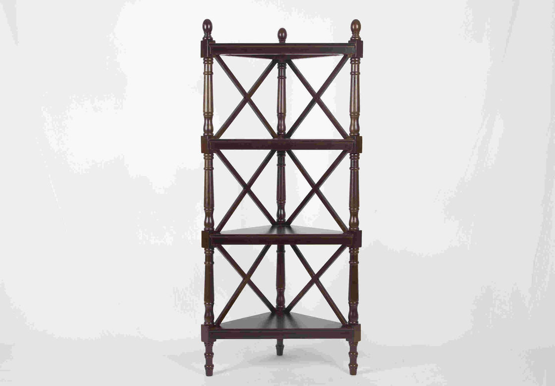 Walnut Soild Wooden Corner Shelf 4 Tiers , Multi Purpose Storage Rack Living Room