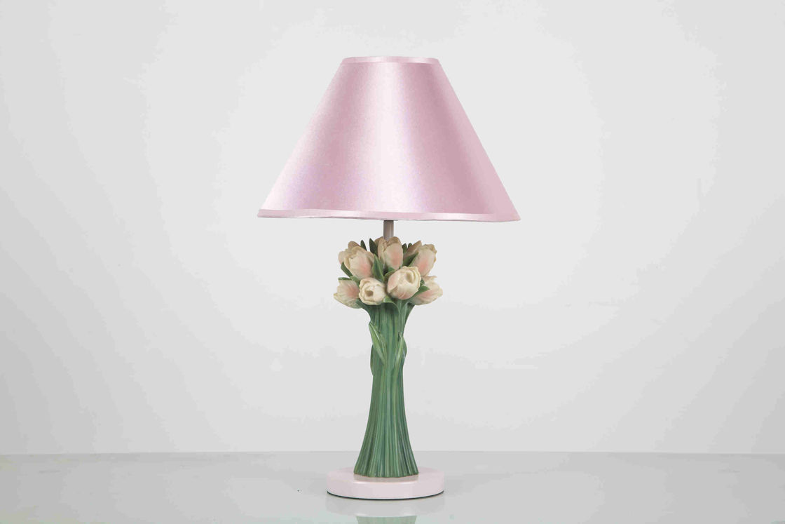 Fabric Round Elegant Home Table Lamps Flowers Shape For Protecting Eyes