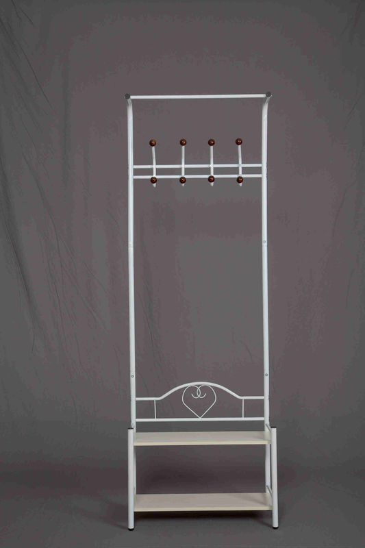 Anti Rust Practical Standing Coat Rack Carbon Steel With Storage Bench Shoes Shelves
